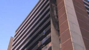 Residents of the North York highrise have been displaced after a five-alarm blaze tore through the building on Friday evening. (CP24)
