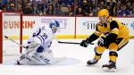 Toronto Maple Leafs goaltender Kasimir Kaskisuo (50) stops a shot by Pittsburgh Penguins' Sam Lafferty (37) during the second period of an NHL hockey game in Pittsburgh, Saturday, Nov. 16, 2019. (AP Photo/Gene J. Puskar)