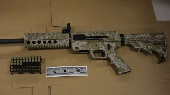 Toronto police have released this image of a JR Carbine Glock 9 mm semi-automatic rifle that was seized from a Toronto home. (Toronto Police Service handout)