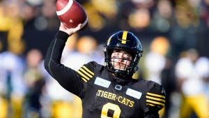 Hamilton Tiger-Cats quarterback Dane Evans (9) throws the ball during first half CFL East Final football action against the Edmonton Eskimos in Hamilton, Ont., on Sunday, Nov. 17, 2019. THE CANADIAN PRESS/Frank Gunn