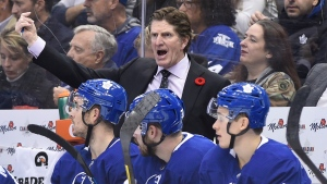 Toronto Maple Leafs head coach Mike Babcock reacts as his team plays the Vegas Golden Knights during third period NHL action in Toronto on Thursday, Nov. 7, 2019. THE CANADIAN PRESS/Nathan Denette