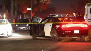 Police work at the scene of a shooting, Sunday, Nov. 17, 2019, in southeast Fresno, Calif. Multiple people were shot and at least four of them were killed Sunday at a party in Fresno when suspects sneaked into the backyard and fired into the crowd, police said. (Larry Valenzuela/The Fresno Bee via AP)/The Fresno Bee via AP)