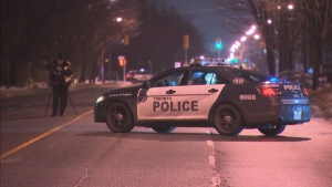 Police investigate after a woman was struck by a vehicle that fled the scene at Midland and Steeles avenues Monday November 18, 2019. (CP24)