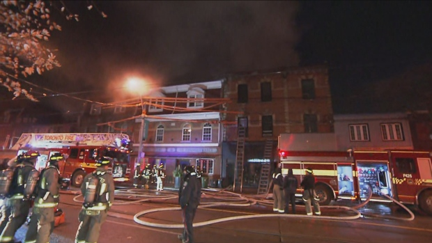 Crews are on the scene of a three-alarm fire at a building in Parkdale.