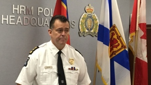 Halifax Regional Police Chief Daniel Kinsella addresses reporters at police headquarters on Thursday Oct. 10, 2109. Halifax's police chief has set the date for a formal apology to Nova Scotia's black community over the practice of street checks. THE CANADIAN PRESS/Keith Doucette