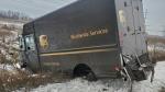 A UPS truck lost its wheels on Highway 407 near Leslie Street. (Twitter/ @OPP_HSD)