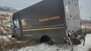 A UPS truck lost its wheels on Highway 407 near Leslie Street. (Twitter/ @OPP_HSD)