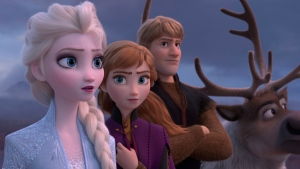 "This image released by Disney shows Elsa, voiced by Idina Menzel, from left, Anna, voiced by Kristen Bell, Kristoff, voiced by Jonathan Groff and Sven in a scene from ""Frozen 2."" (Disney via AP)"