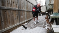 Winnipeg Blue Bomber fan Chris Matthews, who has been wearing shorts daily since the 2001 Grey Cup in Calgary, brushes snow from his sidewalk in Winnipeg Wednesday, November 20, 2019. Back in 2001 Matthews said he would wear shorts until the Winnipeg Blue Bombers win the Grey Cup. THE CANADIAN PRESS/John Woods