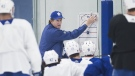 Toronto Maple Leafs head coach Mike Babcock, centre, runs drills during practice in Toronto on Monday, April 8, 2019. The Maple Leafs take on the Boston Bruins in the first round of the Stanley Cup playoffs. THE CANADIAN PRESS/Nathan Denette