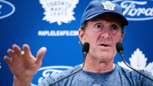 Toronto Maple Leafs head coach Mike Babcock speaks to media in Toronto on Thursday, September 12, 2019. Babcock acknowledged on the first day of training camp his seat could be a little warmer this season.THE CANADIAN PRESS/Christopher Katsarov