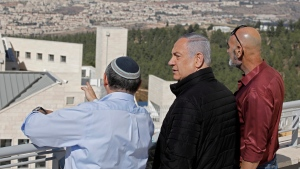 Israeli Prime Minister Benjamin Netanyahu, centre, meets with heads of Israeli settlement authorities at the Alon Shvut settlement, in the Gush Etzion block, in the occupied the West Bank, Tuesday, Nov. 19, 2019. THE CANADIAN PRESS/AP, Menahem Kahana POOL