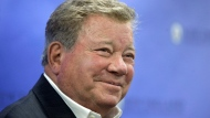 Actor William Shatner smiles while taking questions from reporters, Sunday, May 6, 2018, after delivering the commencement address at New England Institute of Technology graduation ceremonies, in Providence, R.I. THE CANADIAN PRESS/AP, Steven Senne