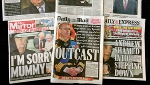 "A combination photo of the front-pages of British newspapers on Thursday Nov. 21, 2019 headlining the scandal surrounding Britain's Prince Andrew. Lawyers for victims of sex offender Jeffrey Epstein say Britain's Prince Andrew should speak to U.S. investigators immediately, after the prince withdrew from royal duties over what he called his ""ill-judged association"" with the convicted pedophile. (AP Photo)"