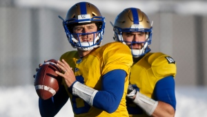 Winnipeg Blue Bombers quarterbacks Zach Collaros, left, and Sean McGuire during practice for the CFL Grey Cup in Calgary, Wednesday, Nov. 20, 2019.THE CANADIAN PRESS/Jeff McIntosh