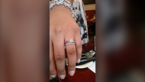 The photo shows the wedding ring stolen from a displaced resident of a North York highrise, where a five-alarm broke out last week. (Supplied)