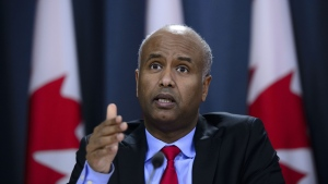 Minister of Immigration, Refugees and Citizenship Ahmed Hussen in responds to the 2019 Spring Reports of the Auditor General in Ottawa on Tuesday, May 7, 2019. Social Development Minister Ahmed Hussen is calling the death of Somali-Canadian human rights worker Almaas Elman devastating news for himself and others. THE CANADIAN PRESS/Sean Kilpatrick