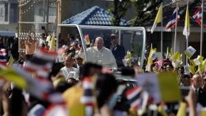 Pope Francis visits St. Peter's Parish, Friday, Nov. 22, 2019, outside Bangkok, Thailand. (AP Photo/Gregorio Borgia)
