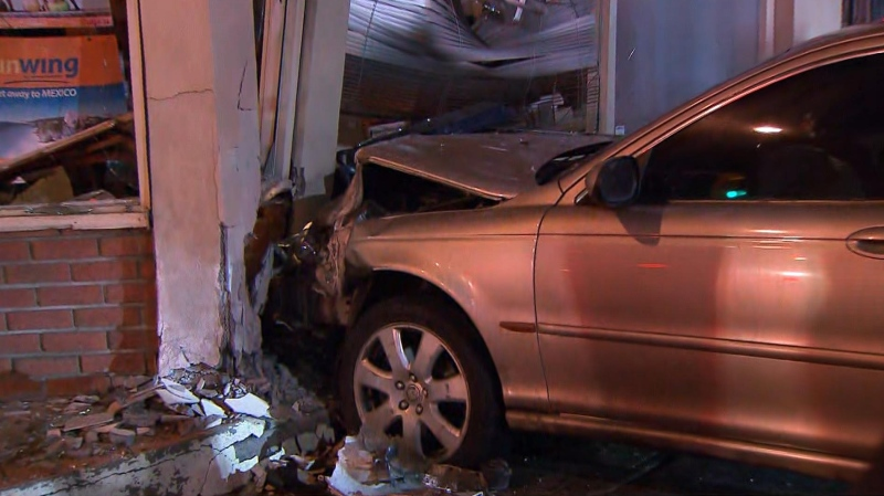 Impaired driver crashes into building