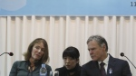 Fred Warmbier, right, and his wife Cindy listen on about their son Otto Warmbier who died after being released by North Korea in 2017 during a press conference in Seoul, South Korea, Friday, Nov. 22, 2019. The Warmbiers say they are committed to finding and shutting down illicit North Korean business assets around the world in efforts to hold its government accountable for widespread human rights abuses.(AP Photo/Ahn Young-joon)