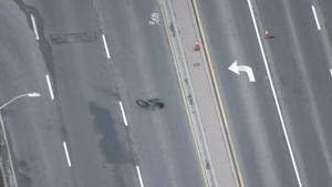A bike is seen on Stevenson Road South in Oshawa after a fatal hit-and-run on Nov. 22, 2019. (Chopper 24)