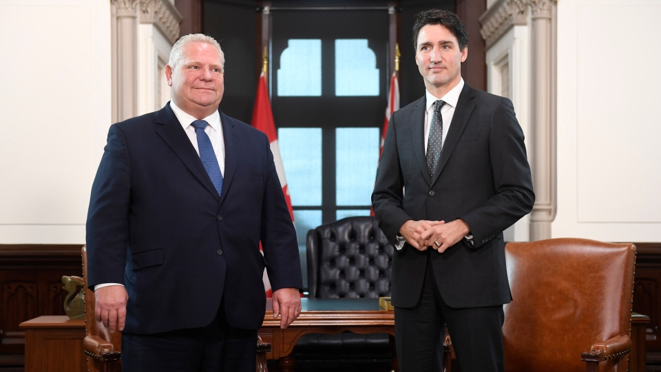 Prime Minister Justin Trudeau meets with the Premier of Ontario Doug Ford at his office in the West Block of Parliament Hill in Ottawa on Friday, Nov. 22, 2019. THE CANADIAN PRESS/Adrian Wyld