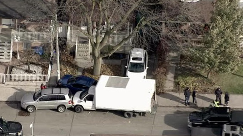 Damaged cars are seen after a suspected impaired driving episode in the Junction Triangle on Nov. 22, 2019. (Chopper 24)