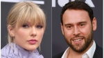 "This combination photo shows Taylor Swift at the Billboard Music Awards at the MGM Grand Garden Arena in Las Vegas on May 1, 2019, left, and Scooter Braun at the 2019 MOCA benefit in Los Angeles on May 18, 2019. Braun's Ithaca Holdings acquired Big Machine Label Group, home to Swift's first six albums, including the Grammy winners for album of the year, 2008's ""Fearless"" and 2014's ""1989."" (Photos by Richard Shotwell, left, and Mark Von Holden/Invision/AP)"