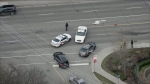 Toronto police are investigating after a pedestrian was struck near Lawrence and Avenue on Friday afternoon. (Chopper 24)