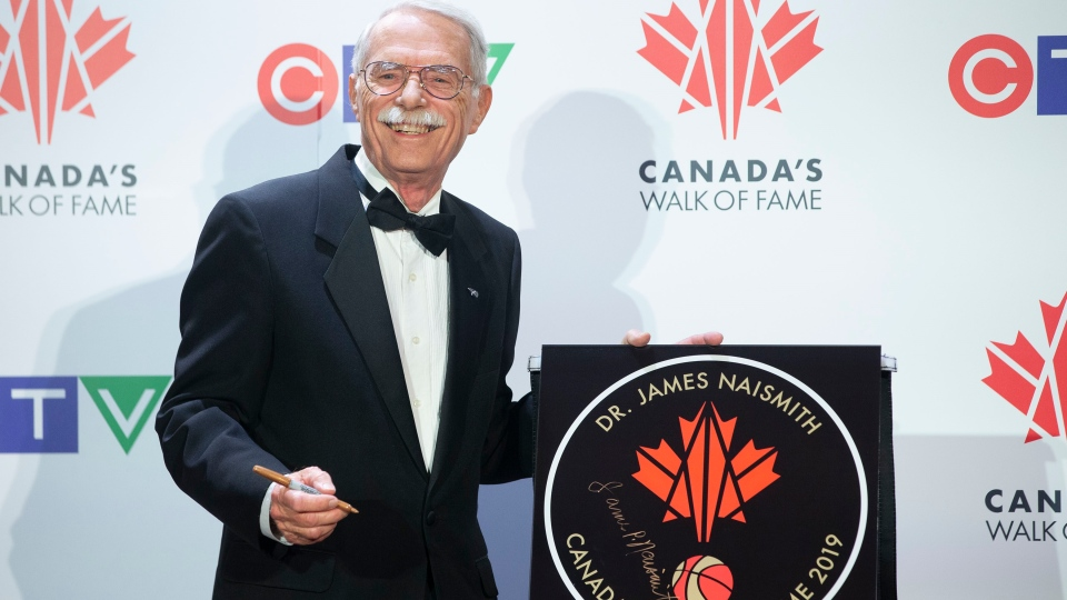 Jim Naismith, the grandson of Dr.James Naismith, the inventor of basketball, pictured with his grandfather's star as he is inducted into Canada's Walk of Fame during an event in Toronto on Saturday, November 23, 2019. THE CANADIAN PRESS/Chris Young