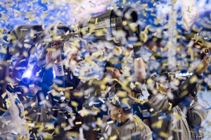 The Winnipeg Blue Bombers celebrate winning the 107th Grey Cup against the Hamilton Tiger Cats in Calgary, Alta., Sunday, November 24, 2019. THE CANADIAN PRESS/Frank Gunn
