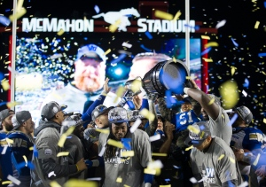 The Winnipeg Blue Bombers celebrate winning the 107th Grey Cup against the Hamilton Tiger Cats in Calgary, Alta., Sunday, November 24, 2019. THE CANADIAN PRESS/Todd Korol