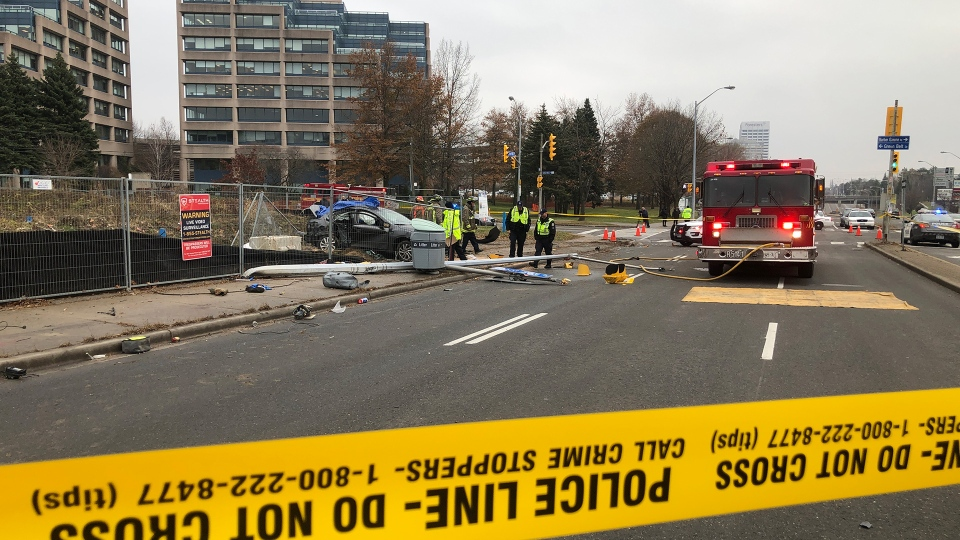 Police and firefighters are seen at Don Mills Road and Green Belt Drive on Nov. 25, 2019 after a serious collision. (Tom Podolec/CTV News Toronto)