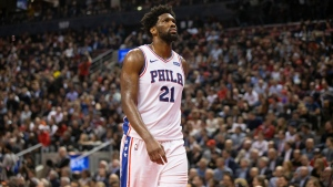 Philadelphia 76ers Joel Embiid is pictured during his team's 101-96 loss in NBA basketball action in Toronto on Monday November 25, 2019. THE CANADIAN PRESS/Chris Young