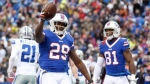 Buffalo Bills running back Karlos Williams (29) celebrates after scoring a touchdown against the Dallas Cowboys during the first half of an NFL football game, Sunday, Dec. 27, 2015, in Orchard Park, N.Y. Karlos Williams isn't coming to the CFL with a chip on his shoulder but does have something to prove to himself. THE CANADIAN PRESS/AP, Gary Wiepert