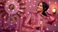 "This image released by Amazon Studios shows Kacey Musgraves during a taping of ""The Kacey Musgraves Christmas Show,"" streaming on Amazon on Nov. 29. (Anne Marie Fox/Amazon Studios via AP)"