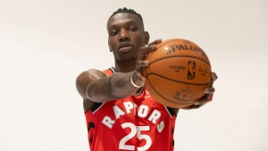 Toronto Raptors' Chris Boucher poses during a photo shoot at the Raptors Media day in Toronto, Saturday, Sept. 28, 2018. (THE CANADIAN PRESS/Chris Young)