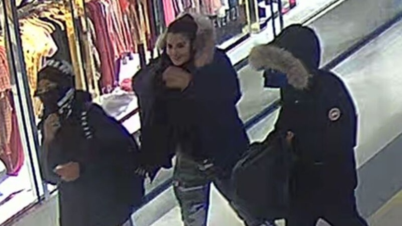 Police have released images of four suspects wanted in connection with two robberies at Scarborough Town Centre. (Toronto Police Service handout)
