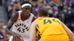 Toronto Raptors' Pascal Siakam (43) looks to shoot as Utah Jazz's Bojan Bodanovic (44) defends during second half NBA basketball action in Toronto, Sunday, Dec. 1, 2019. THE CANADIAN PRESS/Hans Deryk
