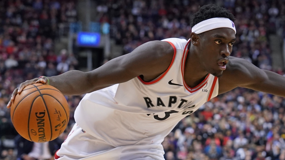 Toronto Raptors' Pascal Siakam (43) looks for an opening against the Utah Jazz during second half NBA basketball action in Toronto, Sunday, Dec. 1, 2019. THE CANADIAN PRESS/Hans Deryk
