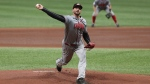 Canada's pitcher Phillippe Aumont throws against Cuba during the first inning of the Group C of the WBSC Premier12 2019 world baseball tournament at Gocheok Sky Dome in Seoul, South Korea, Wednesday, Nov. 6, 2019. THE CANADIAN PRESS/AP-Ahn Young-joon