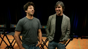 "In this Sept. 2, 2008, file photo Google co-founders Sergey Brin, left, and Larry Page talk about the new Google Browser, ""Chrome,"" during a news conference at Google Inc. headquarters in Mountain View, Calif. (AP Photo/Paul Sakuma, File)"