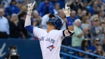 Toronto Blue Jays second baseman Lourdes Gurriel Jr. (13) celebrates after homered to left against Los Angeles Angels starting pitcher Tyler Skaggs (45) during fourth inning MLB American League baseball action in Toronto on Tuesday June 18, 2019. THE CANADIAN PRESS/Nathan Denette