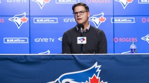 Ross Atkins, general manager of the Toronto Blue Jays, speaks to the media during the end-of-the-season press conference in Toronto on Tuesday, October 1, 2019. Atkins says pitching remains one of his top priorities for the off-season. THE CANADIAN PRESS/Nathan Denette