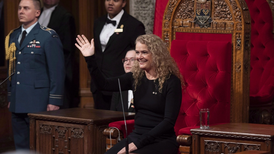 Governor General Julie Payette waves towards the gallery as she participates in a Royal Assent ceremony in the Senate Chamber on Parliament Hill in Ottawa on Thursday, Dec. 13, 2018. THE CANADIAN PRESS/Justin Tang