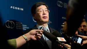 Chinese Ambassador to Canada Cong Peiwu answers reporters questions following a luncheon speech in Montreal, Thursday, December 5, 2019. THE CANADIAN PRESS/Graham Hughes