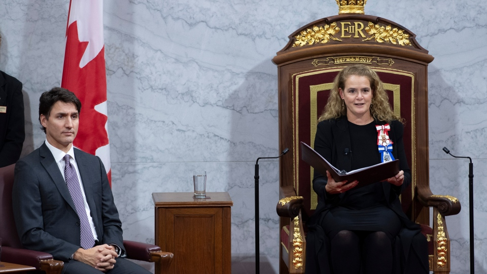 Prime Minister Justin Trudeau looks on as Governor General Julie Payette delivers the Throne Speech in the Senate chamber, Thursday December 5, 2019 in Ottawa. THE CANADIAN PRESS/Sean Kilpatrick