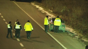 Pedestrian struck by transport truck on QEW remains on life support in 'grim' condition: police