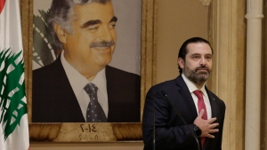 In this Tuesday, Oct. 29, 2019, file photo, Lebanese Prime Minister Saad Hariri speaks during an address to the nation in Beirut, Lebanon. (AP Photo/Hassan Ammar, File)
