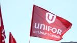 A Unifor flag seen at a rally in Regina. (Brendan Ellis/CTV News)